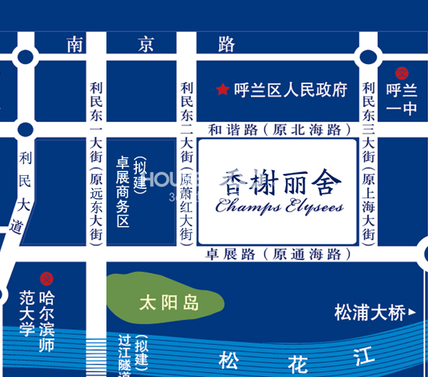 香榭丽舍二期交通图