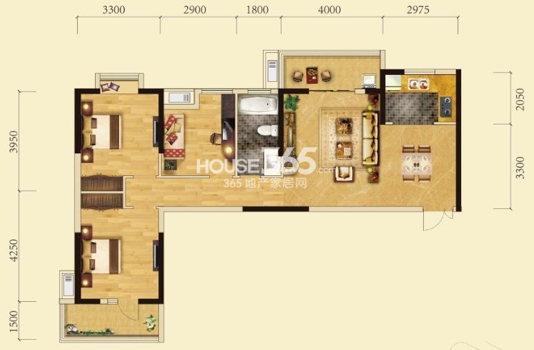 卧龙墨水湖边2号楼C1户型3室2厅1卫1厨 112.00㎡