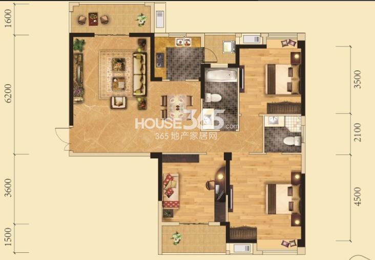 卧龙墨水湖边4号楼B3户型3室2厅2卫1厨 135.00㎡