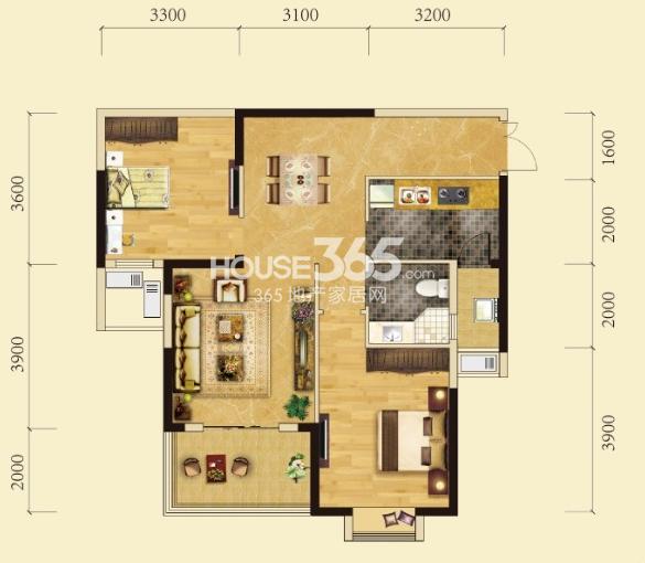 卧龙墨水湖边2号楼C2户型2室2厅1卫1厨 90.00㎡