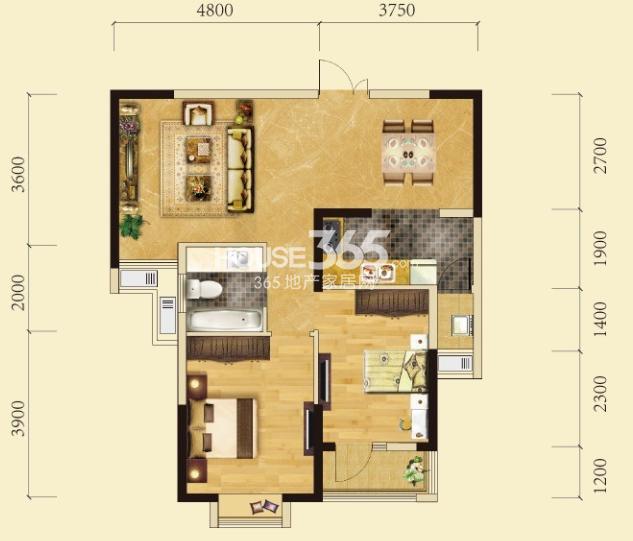 卧龙墨水湖边2号楼C3户型2室2厅1卫1厨 85.00㎡