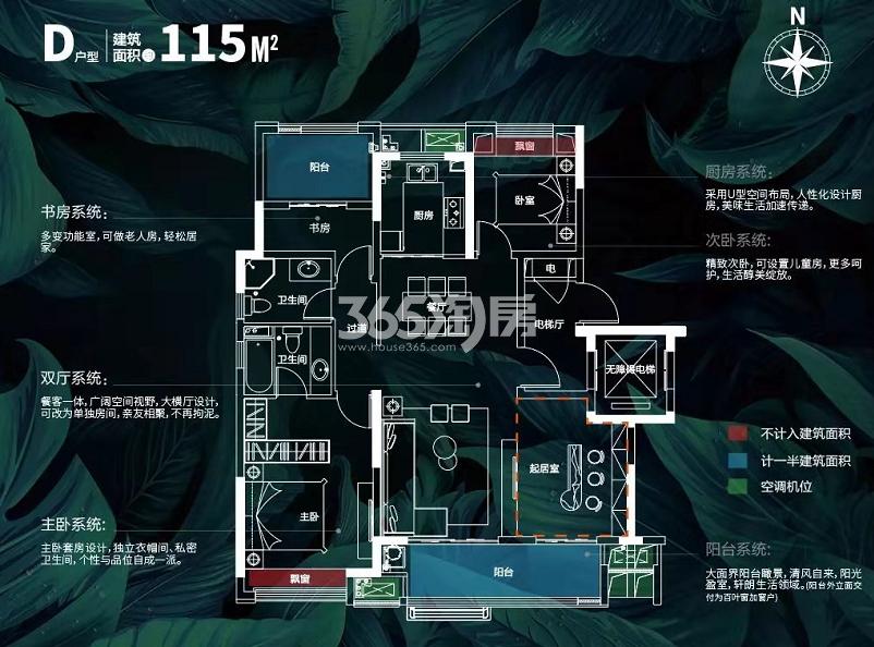 新城吾悦广场115㎡高层D户型图