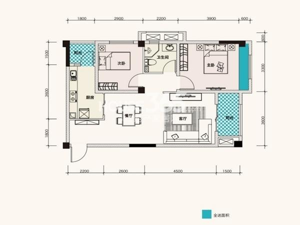 F、绿岛11、13栋A3户型86平2室2厅1卫1厨 86.00㎡