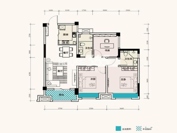 F、绿岛11、13栋B1户型101平3室2厅2卫1厨 101.00㎡