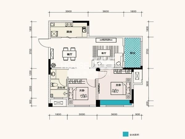 F、绿岛11、13栋A4户型87平2室2厅1卫1厨 87.00㎡