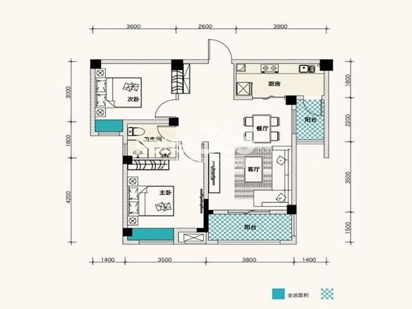 F、绿岛1-12栋A1户型85平2室2厅1卫1厨 85.00㎡