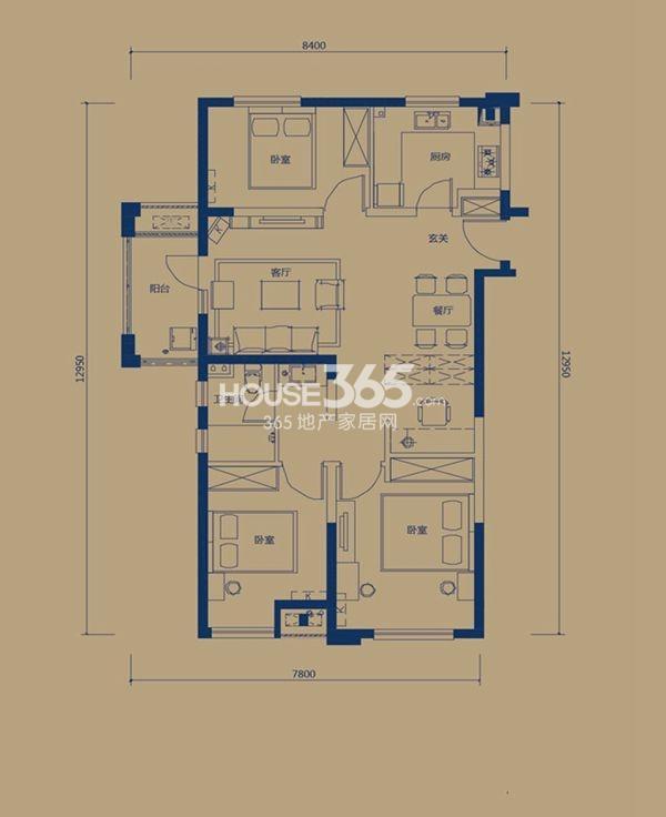 万科锦程2号楼B1户型3室2厅1卫1厨 109.00㎡