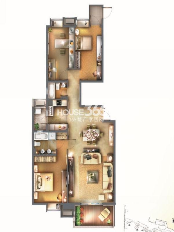 世纪江尚紫钻4房043室2厅2卫1厨 160.00㎡