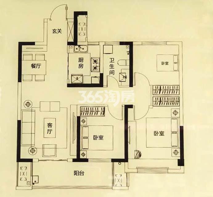 珍宝岛熙悦府住宅A户型102㎡三室两厅一卫