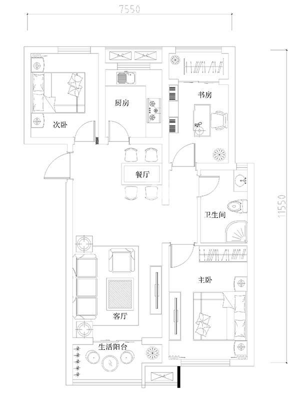 龙湖花千树高层东向户型3室2厅1卫1厨 95.00㎡