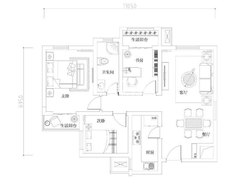 龙湖花千树高层西北向户型3室2厅1卫1厨 95.00㎡