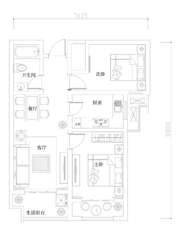 龙湖花千树高层南向户型2室2厅1卫1厨 75.00㎡