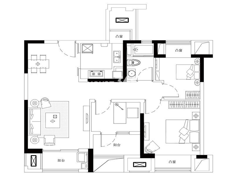 中城誉品88平方米户型图