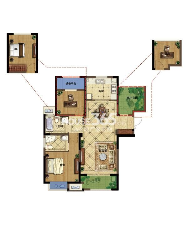 弘阳广场K户型104平-2+1房2厅2卫