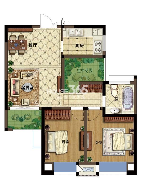 弘阳广场I户型87平-2+1房2厅1卫