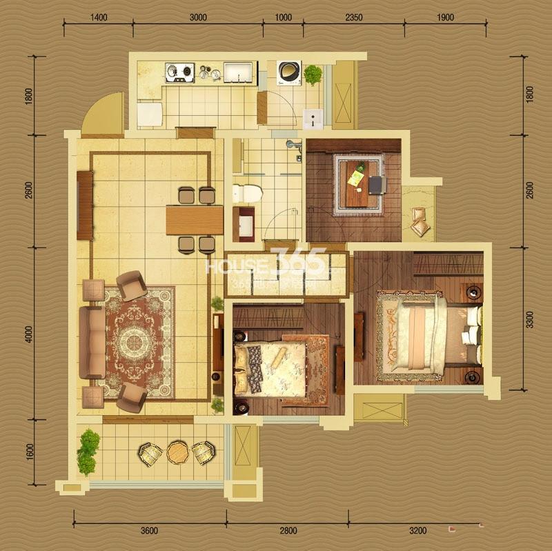 中国铁建北湖国际城5、6号楼B1户型3室2厅1卫1厨 79.00㎡_副本