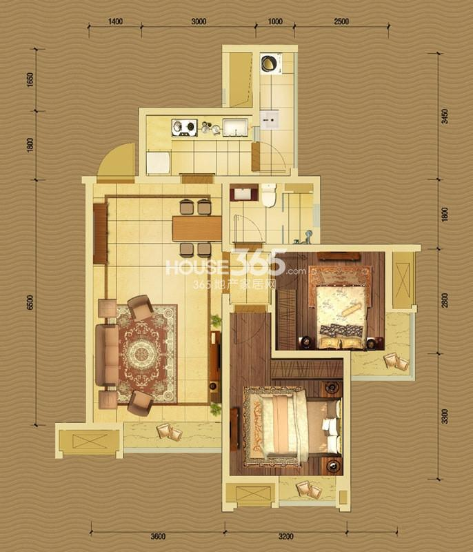 中国铁建北湖国际城5号楼A户型2室1厅1卫1厨 72.00㎡_副本