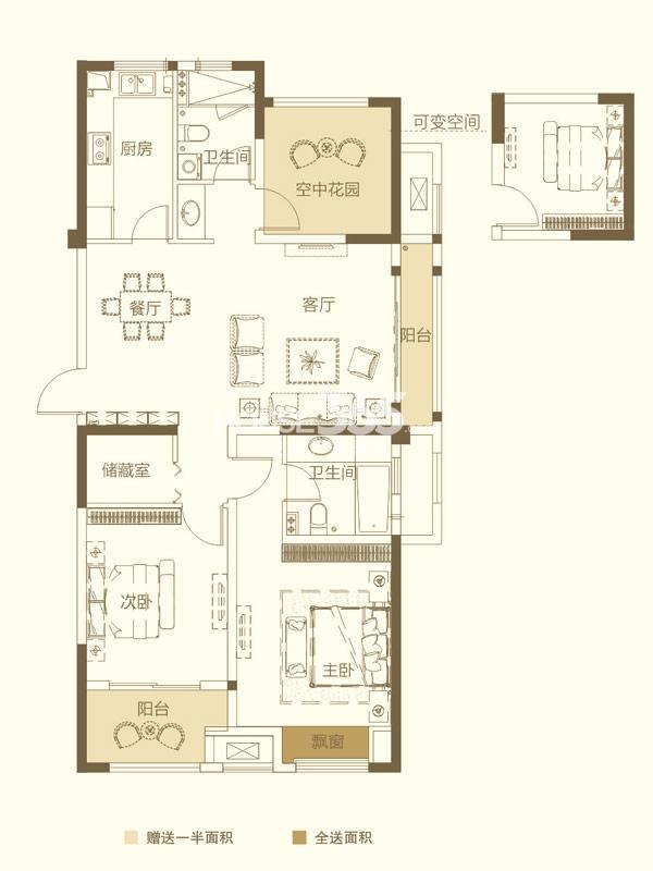 紫金城21#楼-2+1室2厅2卫-约121.79平