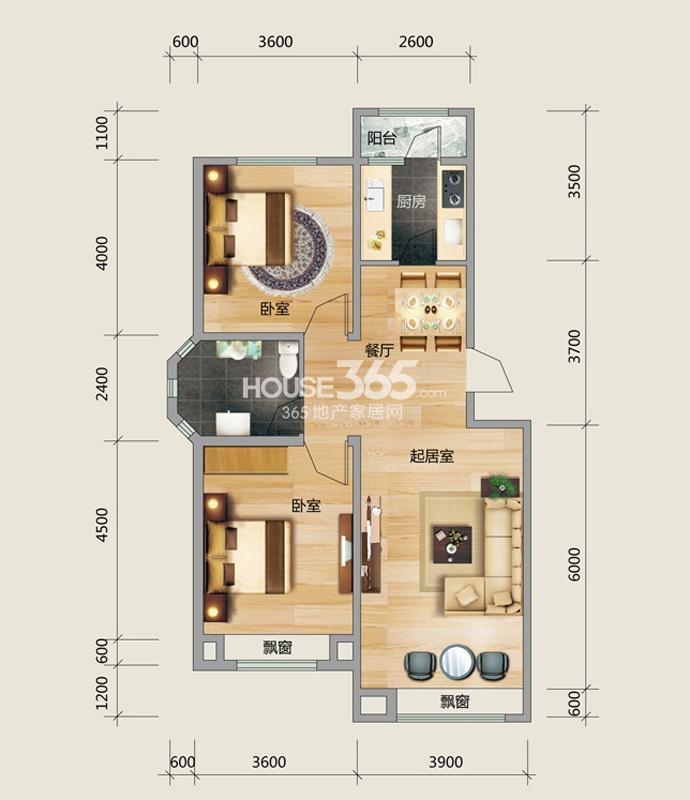 良品柏宏爱琴湾4#楼A户型图2室2厅1卫 96.09㎡
