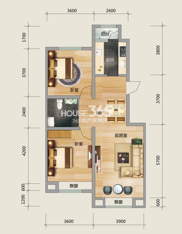 良品柏宏爱琴湾5#楼Q户型图2室2厅1卫 95.31㎡