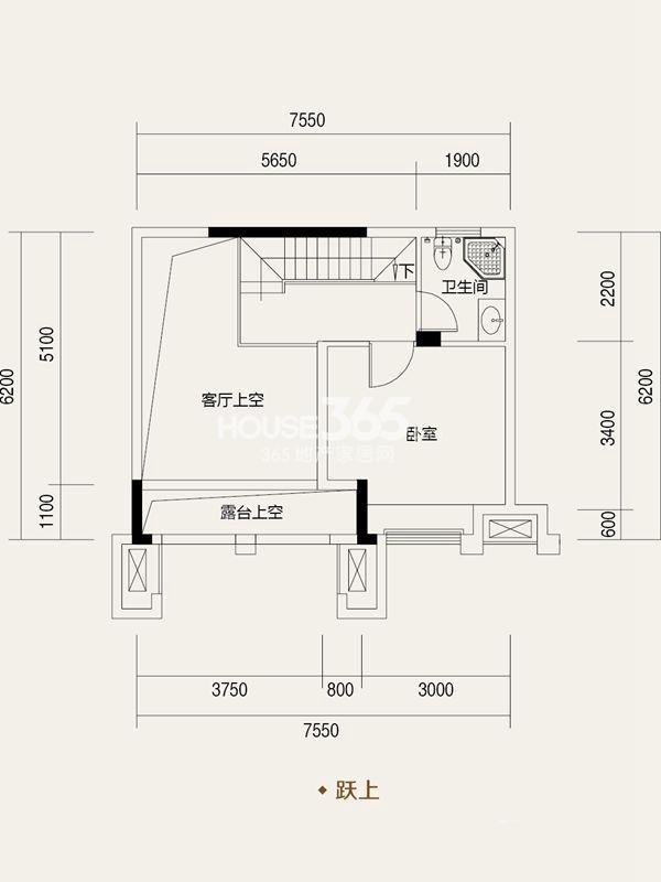 协信城立方一期洋房户复式B户型_跃上2室2厅2卫1厨 101.00㎡
