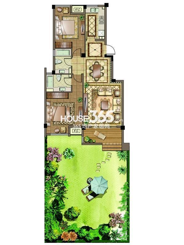 2#-02室-一层-两房两厅一卫 150平