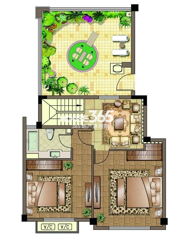 2#-02室-阁楼-两房一厅一卫 150平