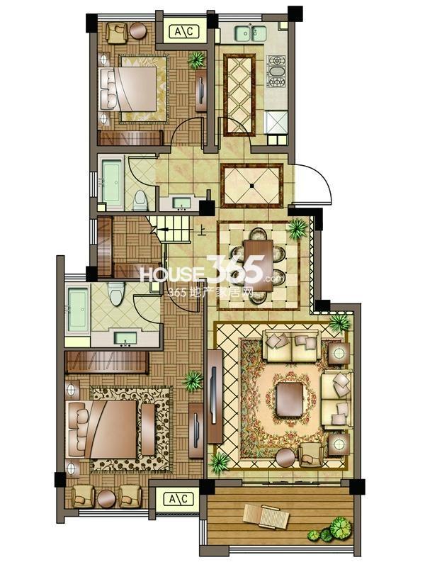 2#-02室-四层-两房一厅一卫 150平