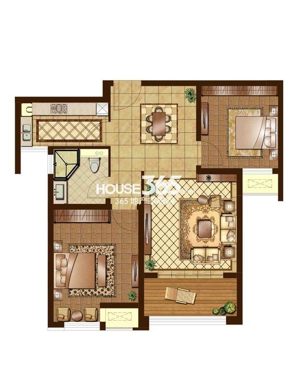 E1户型 二房二厅一卫 85平