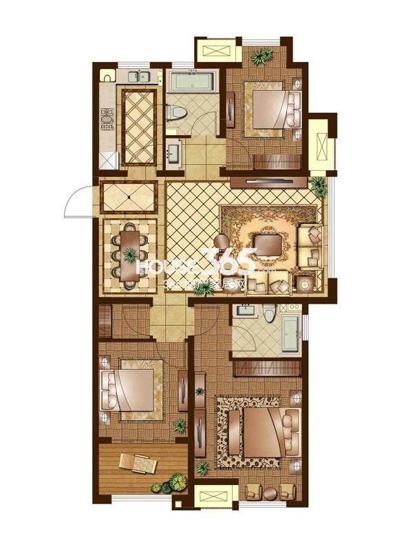 G户型 三房二厅两卫 120平