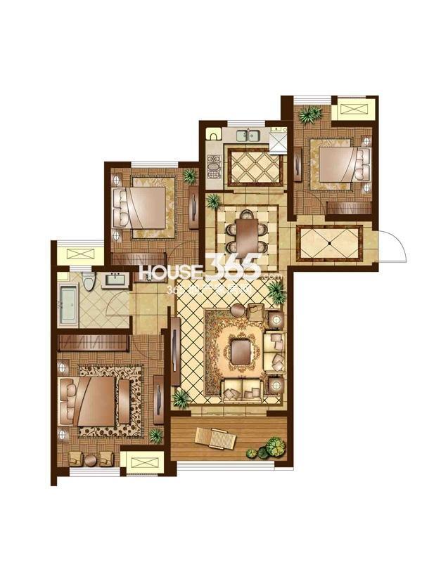 F2户型 三房二厅一卫 110平