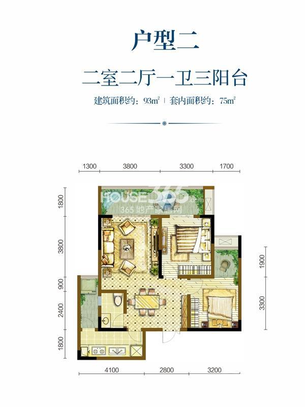 嘉悦江庭一期一期标准层户型二2室2厅1卫1厨 93.00㎡