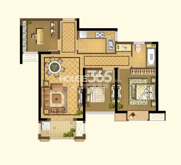 阳光天地B1户型图2+1房2厅1卫93平