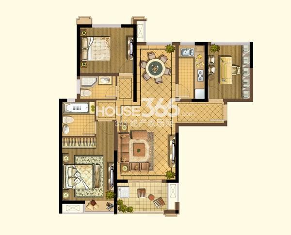 阳光天地A2户型图2+1房2厅2卫112平