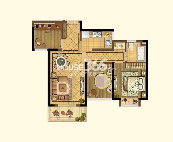 阳光天地B2户型图2+1房2厅1卫93平