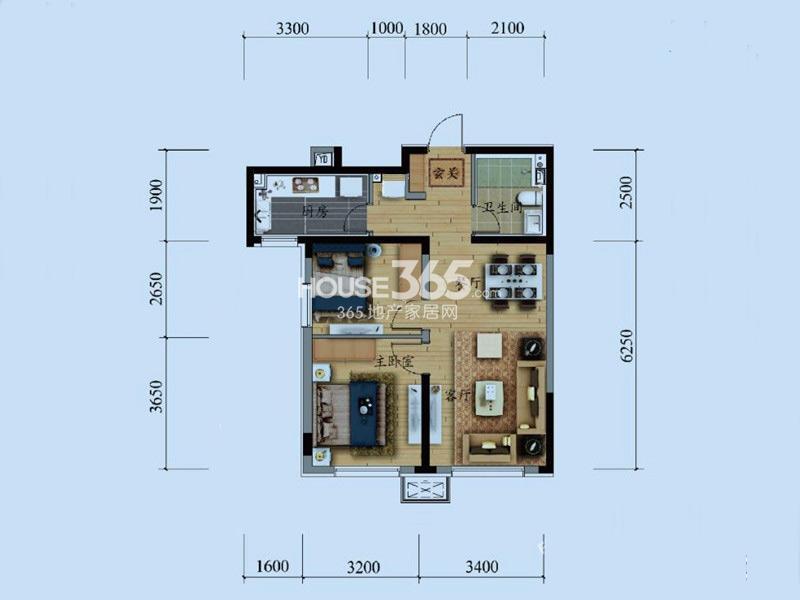万科铁西蓝山B1户型2室2厅1卫79㎡