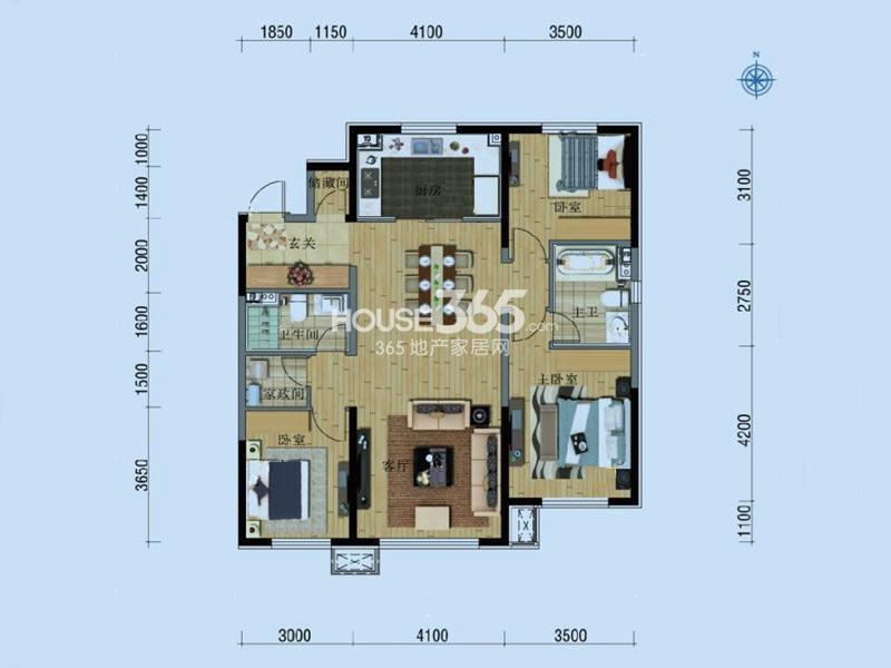 万科铁西蓝山C户型3室2厅2卫137㎡