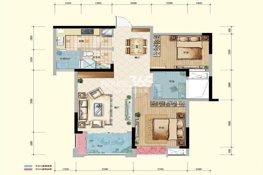 绿地城一期高层5/6号楼标准层D户型2室2厅1卫1厨 68.38㎡