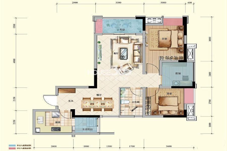 绿地城一期高层1-6号楼标准层C户型2室2厅1卫1厨 68.34㎡