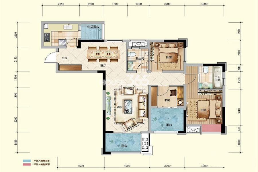 绿地城一期高层5/6号楼标准层E户型3室2厅2卫1厨 81.56㎡
