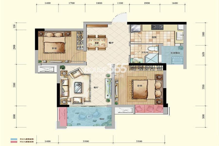 绿地城一期高层2/3号楼标准层B户型2室2厅1卫1厨 56.69㎡