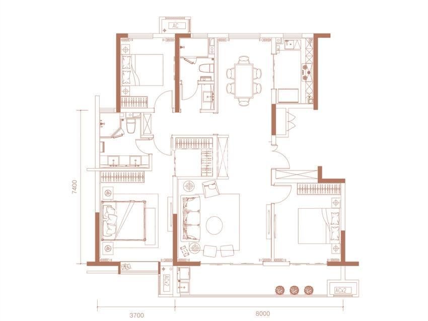科为瑞府三室两厅两卫138㎡户型图