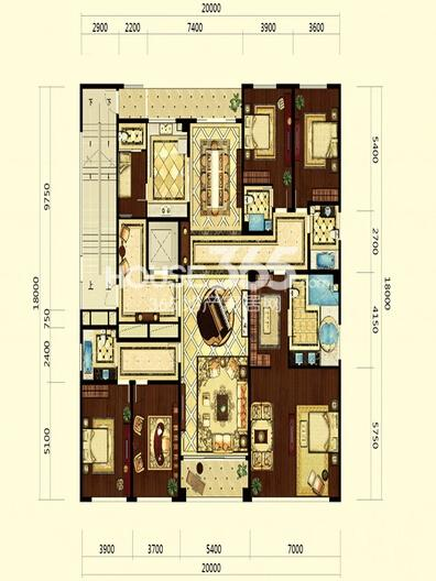 双银国际金融城大平层心音系官邸户型5室3厅4卫1厨 319.00㎡