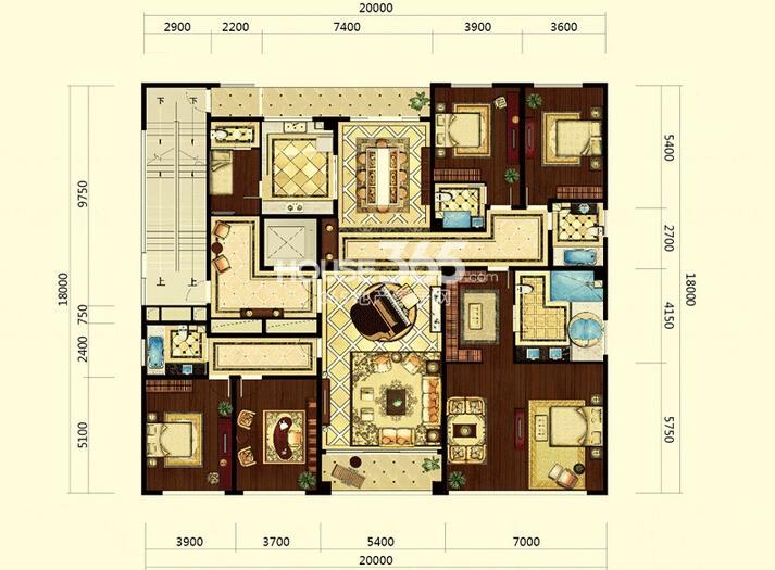 双银国际金融城大平层天音系官邸户型5室3厅4卫1厨 367.00㎡
