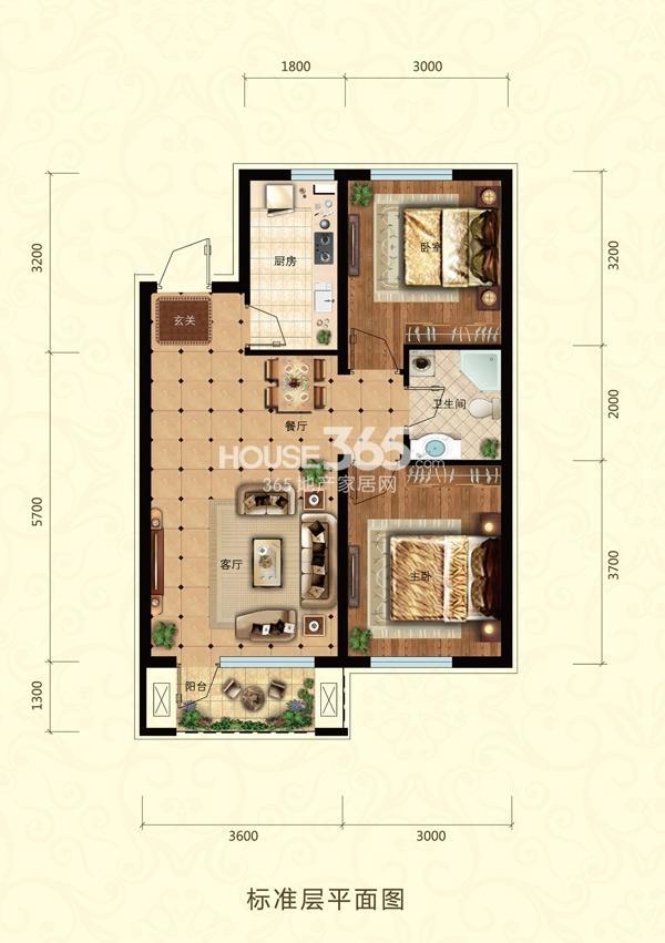 东亚翰林世家C-2户型2室2厅1卫77㎡