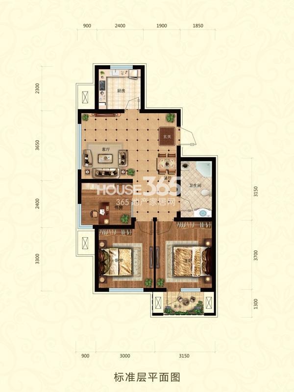 东亚翰林世家C-1户型3室2厅1卫88㎡