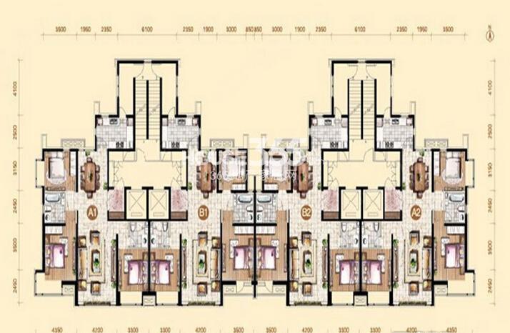 御景新世界10、11、12、17号楼标准层平面图