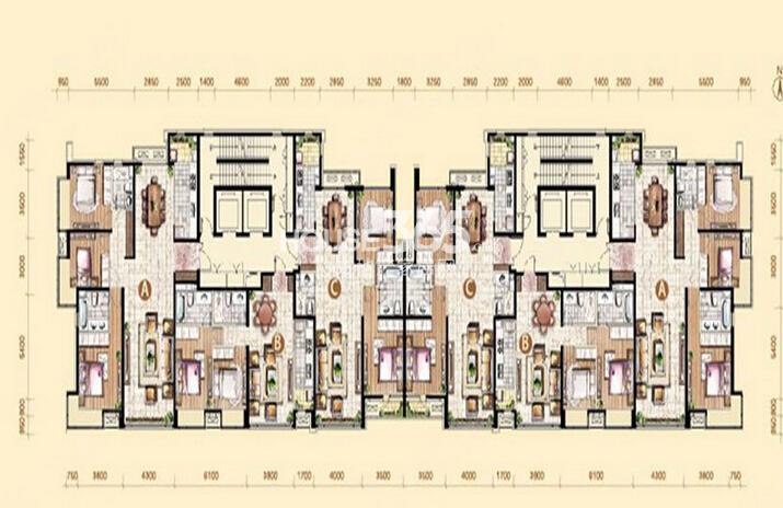 御景新世界20、21号楼标准层平面图