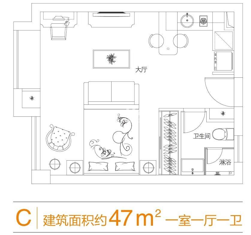 三墩新天地香港城酒店式公寓C户型47方户型图
