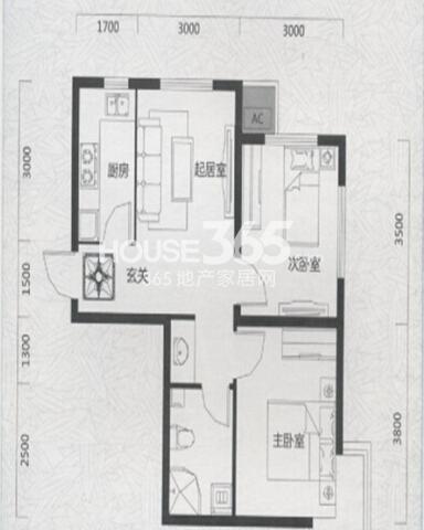 唐轩首府H1户型2室1厅1卫 64.15㎡